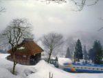 かやぶきと雪と汽車